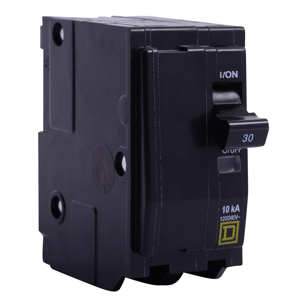 Mayer-Mini circuit breaker, QO, 30A, 2 pole, 120/240 VAC, 10 kA, plug in mount, ring terminal-1