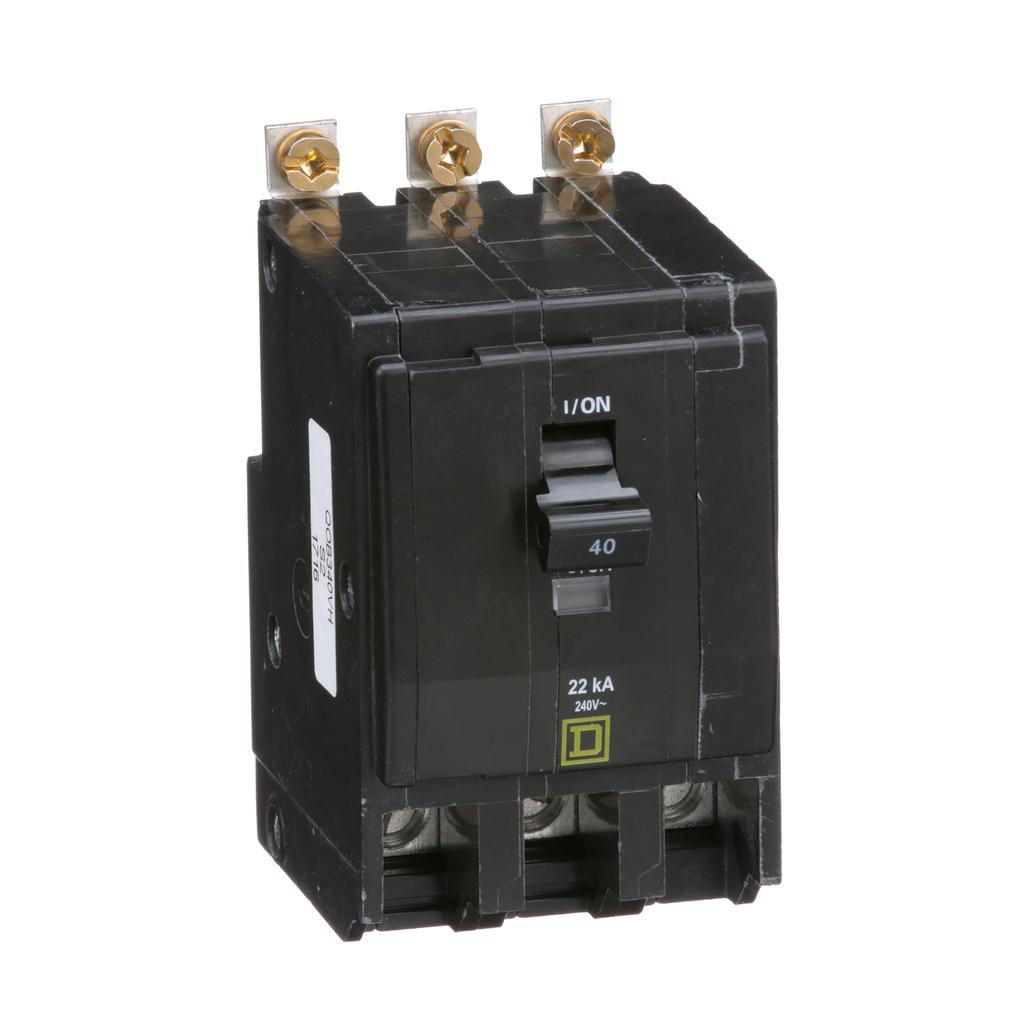 Mayer-Mini circuit breaker, QO, 40A, 3 pole, 120/240 VAC, 22 kA, bolt on mount-1
