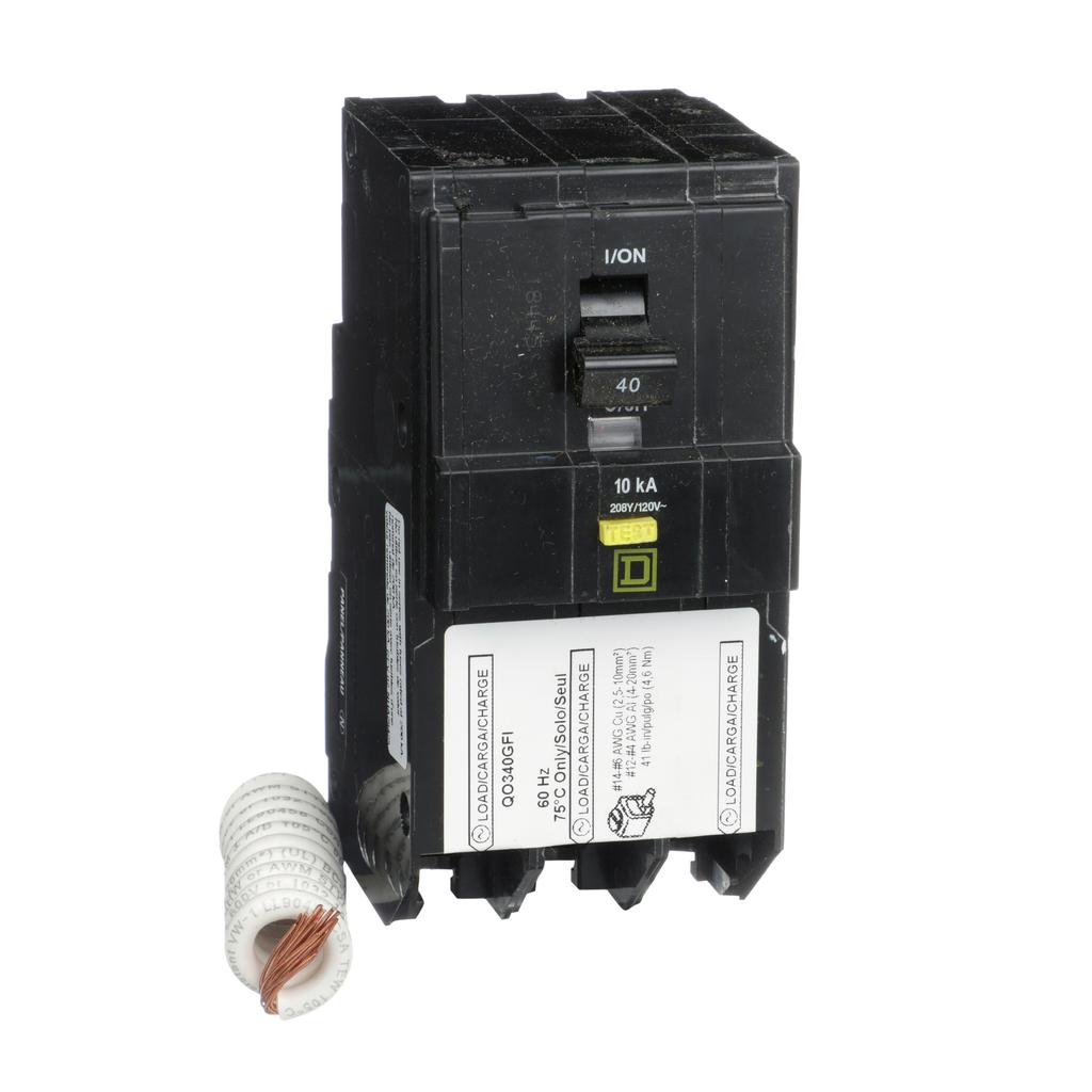 Mayer-Mini circuit breaker, QO, 40A, 3 pole, 208Y/120 VAC, 10 kA, 6mA grd fault A, pigtail, plug in mount-1