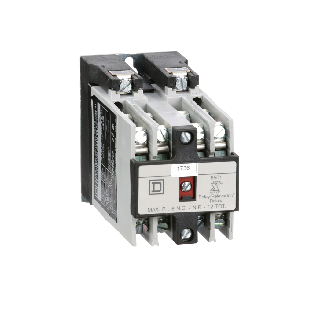 Mayer-NEMA Control Relay, Type X, machine tool, 10A resistive at 600 VAC, 8 normally open contacts, 110/120 VAC 50/60 Hz coil-1