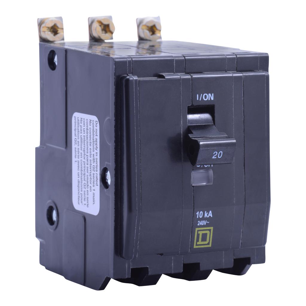 Mayer-Mini circuit breaker, QO, 20A, 3 pole, 120/240 VAC, 10 kA, bolt on mount, fungal treatment-1