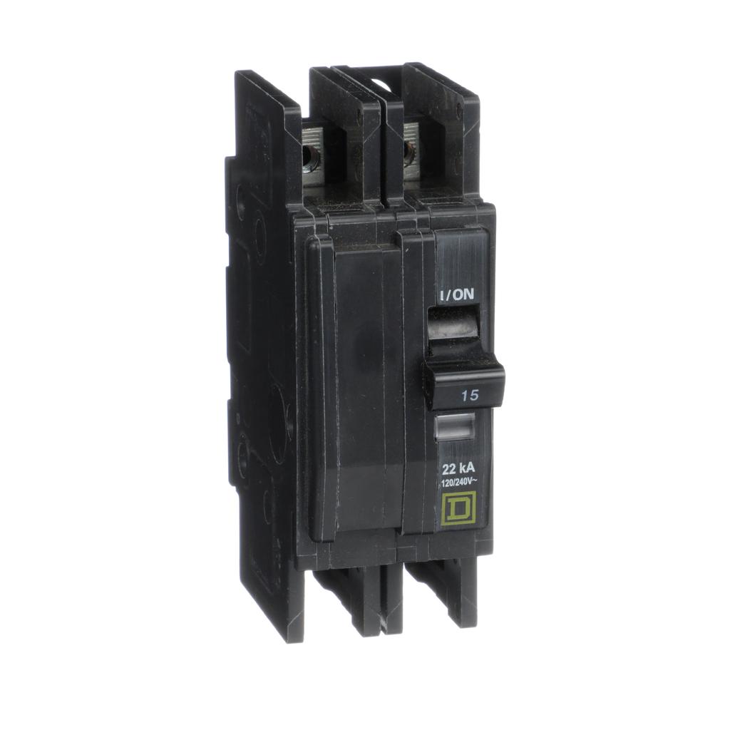 Mayer-Mini circuit breaker, QOU, 15A, 2 pole, 120/240VAC, 22kA, ring terminal-1