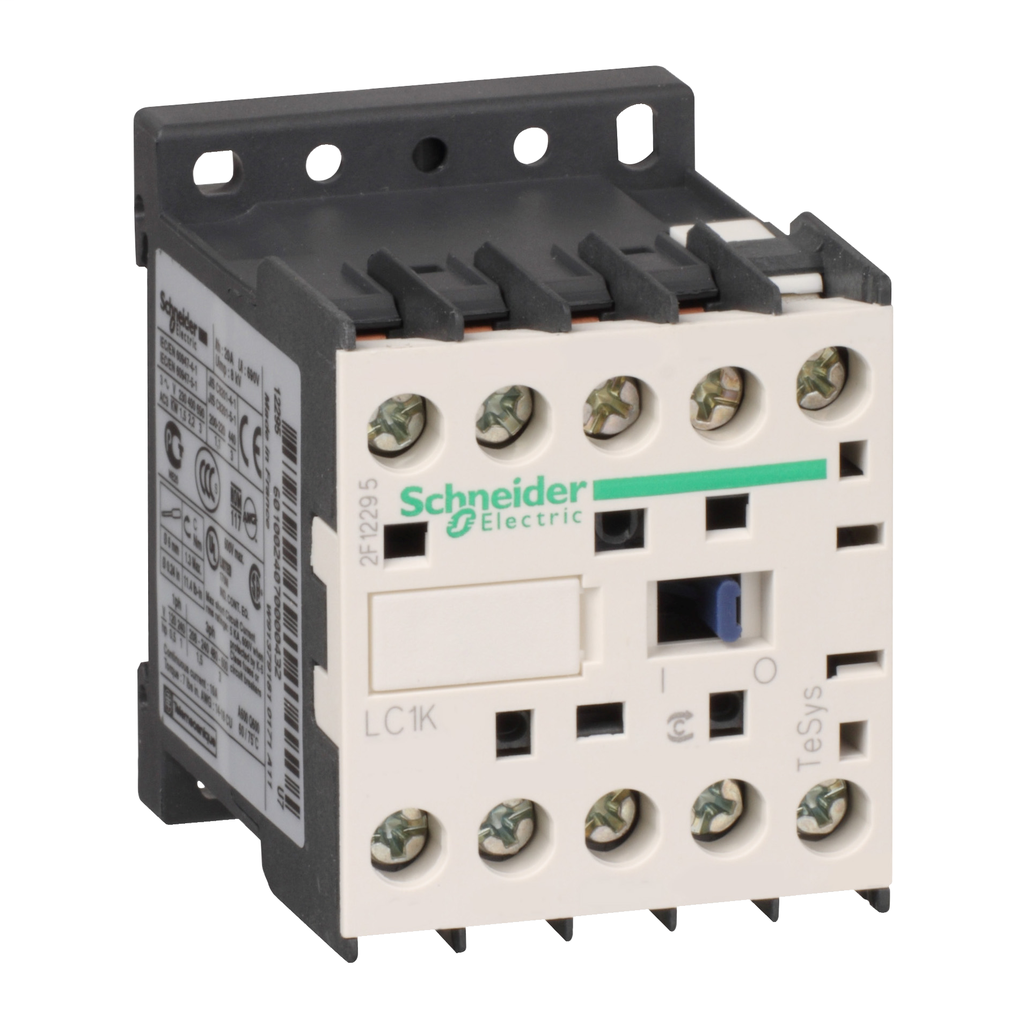 Mayer-IEC contactor, TeSys K, nonreversing, 9A, 5HP at 480VAC, 3 phase, 1 NO auxiliary, 200/208VAC 50/60Hz coil, open style-1