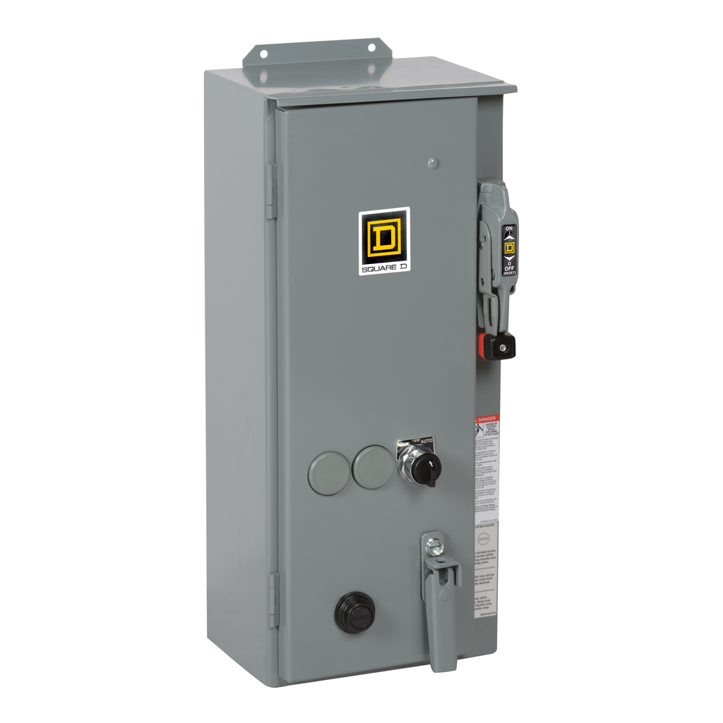 Mayer-NEMA Combination Starter, Type S, nonfusible disconnect, Size 0, 18A, 1 HP at 120 VAC single phase, 120VAC coil, NEMA 12-1