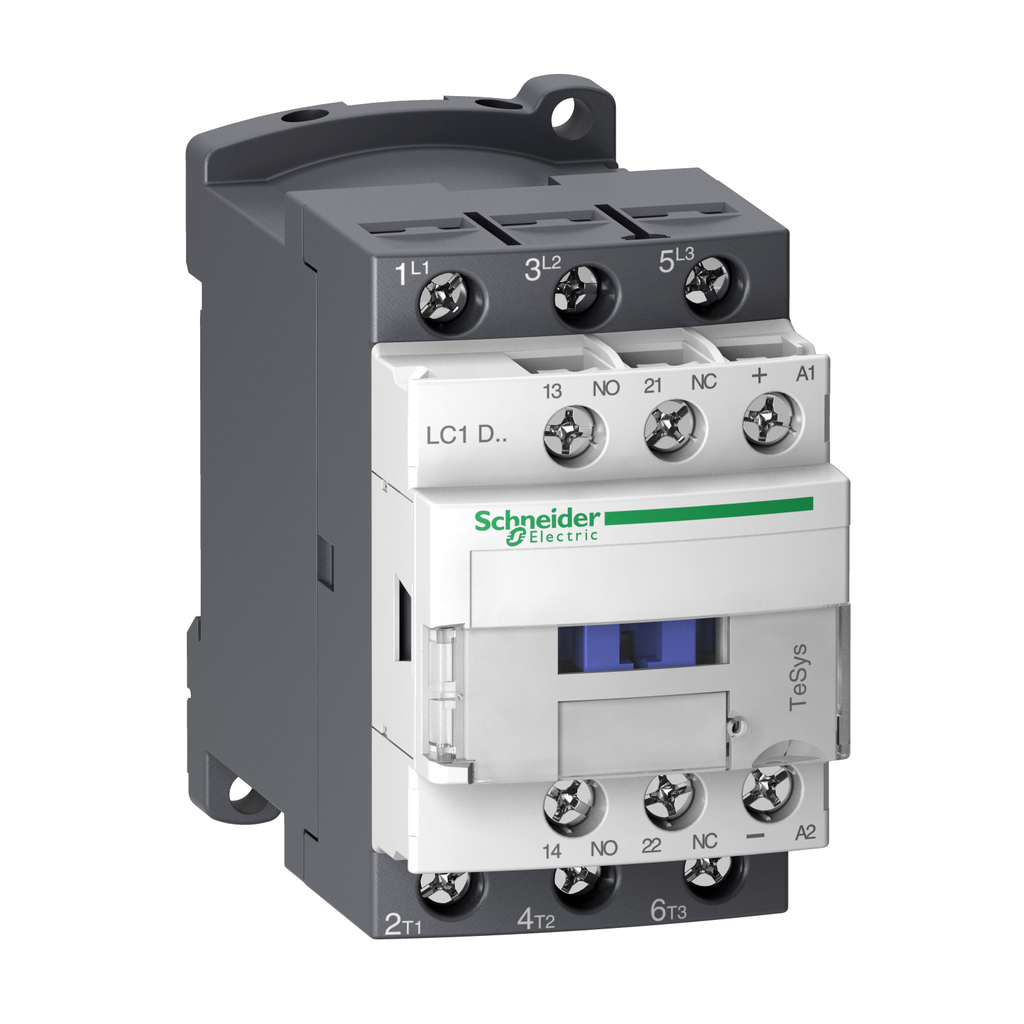 Mayer-IEC contactor, TeSys D, nonreversing, 32A, 20HP at 480VAC, up to 100kA SCCR, 3 phase, 3 NO, low consumption 24VDC coil-1