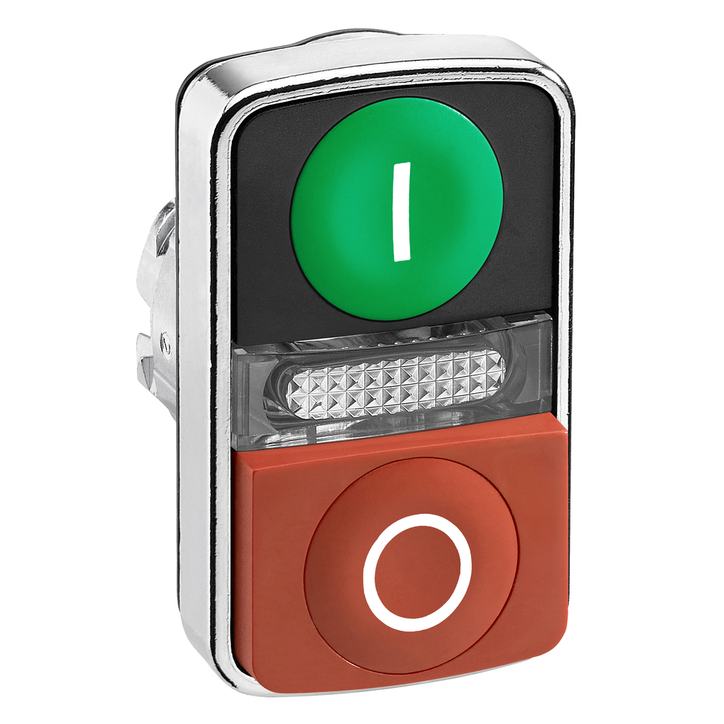 Mayer-Harmony XB4, Illuminated double-headed push button head, metal, Ø22, marked, 1 green flush I + 1 pilot light + 1 red projecting O-1