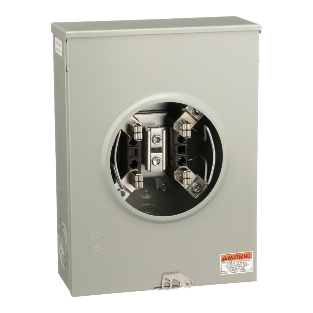 Mayer-Individual meter socket, ringless socket, no bypass, 4 jaws no release, UG, 200 A, up to 600 VAC single phase 3W-1