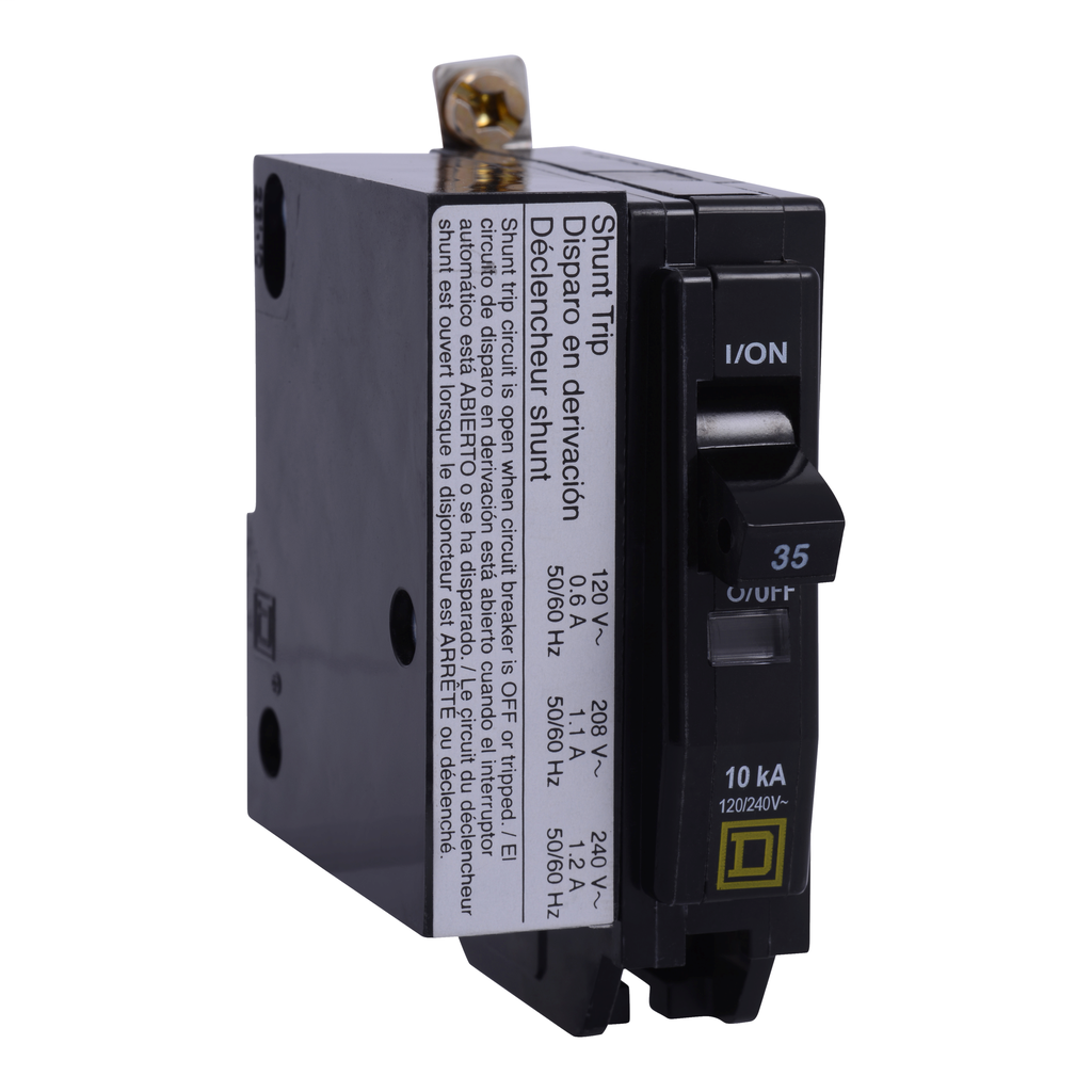 Mayer-Mini circuit breaker, QO, 40A, 1 pole, 120/240 VAC, 10 kA, bolt on mount, AC shunt trip-1