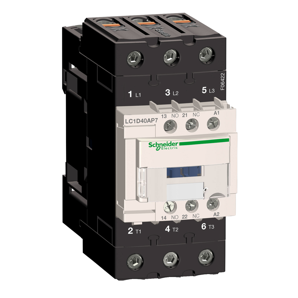 Mayer-IEC contactor, TeSys D, nonreversing, 40A, 30HP at 480VAC, up to 100kA SCCR, 3 phase, 3 NO, 230VAC 50/60Hz coil, open-1