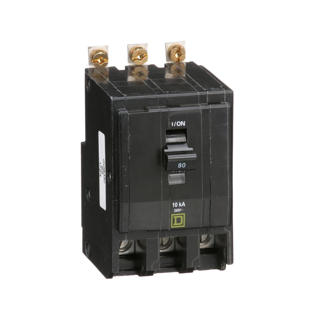 Mayer-Mini circuit breaker, QO, 80A, 3 pole, 120/240 VAC, 10 kA, bolt on mount-1