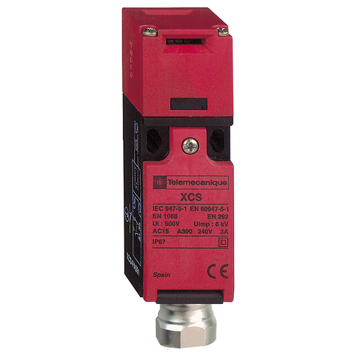 """Mayer-Safety switch, Telemecanique Safety switches XCS, plastic XCSPA, 1 NC + 1 NC, slow break, 1 entry tapped 1/2"""" NPT-1"""