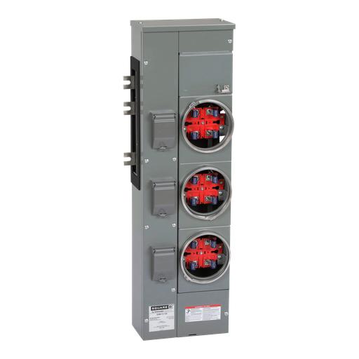 Mayer-Branch unit, EZ Meter-Pak, 125A, 3 sockets, 120/240VAC, no bypass, ringed, 800A Al busbar-1