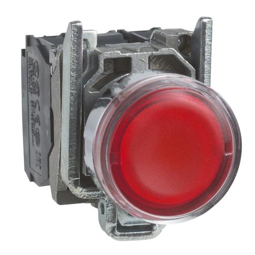 Mayer-Harmony XB4, Illuminated push button, metal, flush, red, Ø22, spring return, 110...120 V AC, 1 NO + 1 NC-1