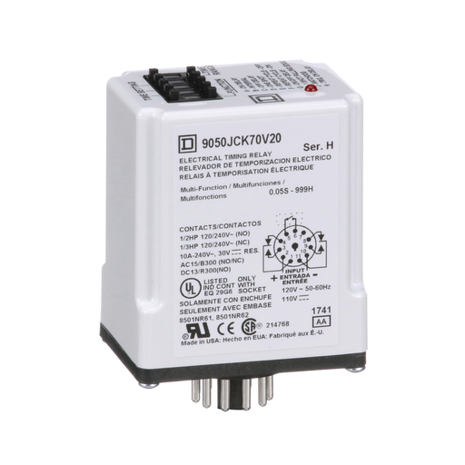 Mayer-Timing Relay, Type JCK, plug In, multifunction, programmable, 0.5 second to 999 hours, 10A, 240 VAC, 120 VAC/110 VDC-1