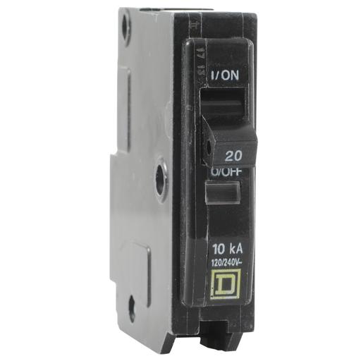 Mayer-Mini circuit breaker, QO, 20A, 1 pole, 120/240VAC, 10kA, plug in mount-1