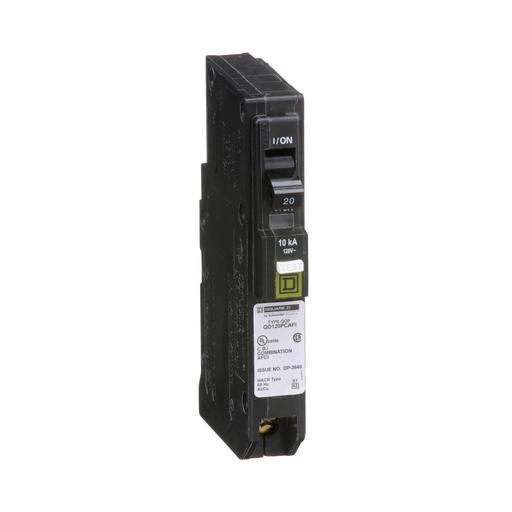 Mayer-Mini circuit breaker, QO, 20A, 1 pole, 120 VAC, 10 kA, combo arc fault, plug on neutral, plug in mount-1