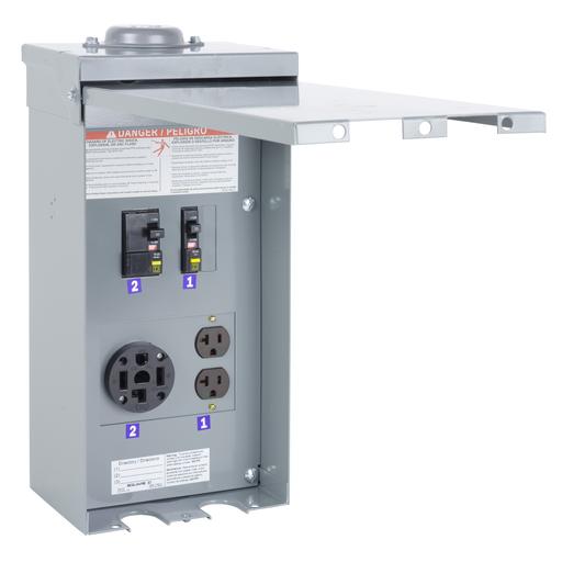 Mayer-Panel, power outlet, construction, configuration 7C, 1 phase, 3 wire, 120/240 VAC, 70A, NEMA 3R-1