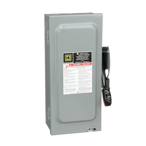Mayer-Safety switch, heavy duty, non fusible, 30A, 3 poles, 30 hp, 600 VAC/DC, NEMA1-1