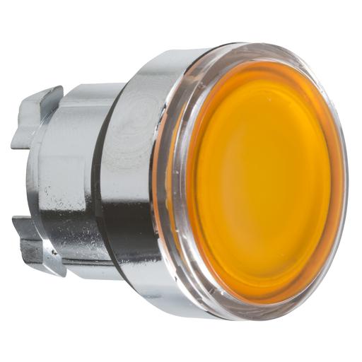 Mayer-Harmony XB4, Illuminated push button head, metal, flush, orange, Ø22, spring return, plain lens integral LED-1