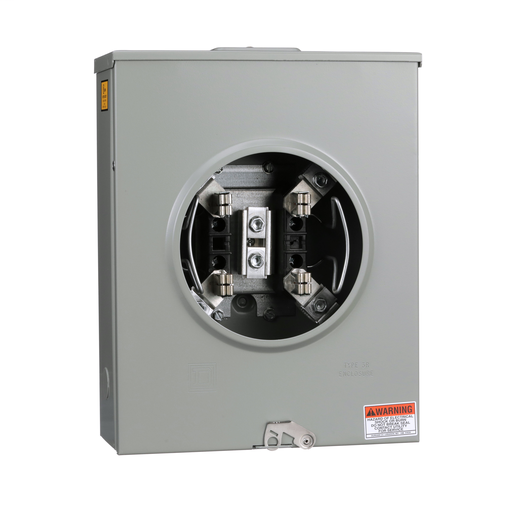 Mayer-Meter socket, ringless, 1 phase, 3 wire, 200A, 4 jaws, 600VAC max, Series A, no bypass, no jaw release-1