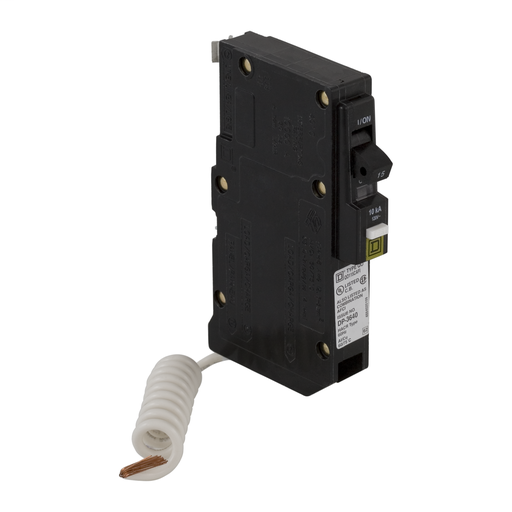 Mayer-Mini circuit breaker, QO, 15A, 1 pole, 120/240 VAC, 10 kA, combo arc fault, pigtail, plug in mount-1