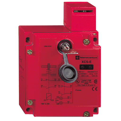 Mayer-Safety switch, Telemecanique Safety switches XCS, metal XCSE, 1NC+2 NO, slow break, 2 entries tapped Pg 13, 24 V-1