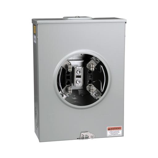 Mayer-Meter socket, 200 A, 600 V, 1 PH, ringless, 4 jaws w/o release, horn, NEMA 3R, steel-1