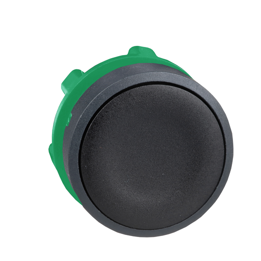 Mayer-Harmony, 22mm Push Button, flush push button head, spring return, black, unmarked-1
