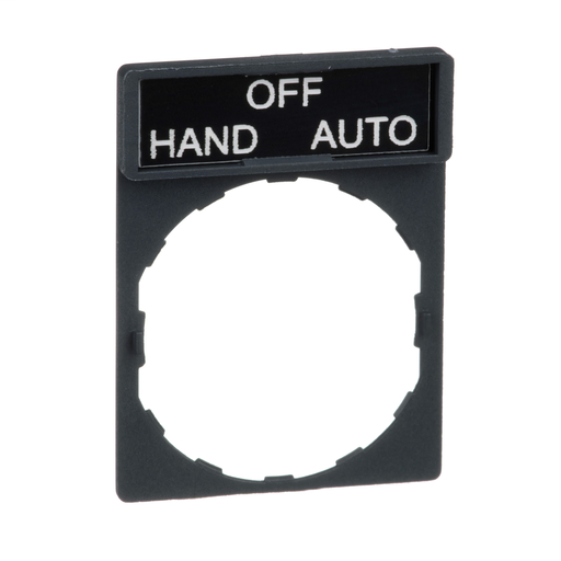Mayer-Harmony, 22mm Push Button, legend holder 30 x 40 mm, with legend 8 x 27 mm, marked HAND OFF AUTO-1