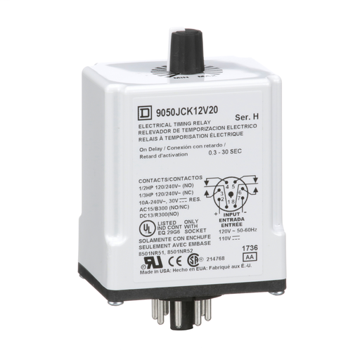 Mayer-Timing Relay, Type JCK, plug In, on delay, adjustable time, 0.3 to 30 seconds, 10A, 240 VAC, 120 VAC/110 VDC-1