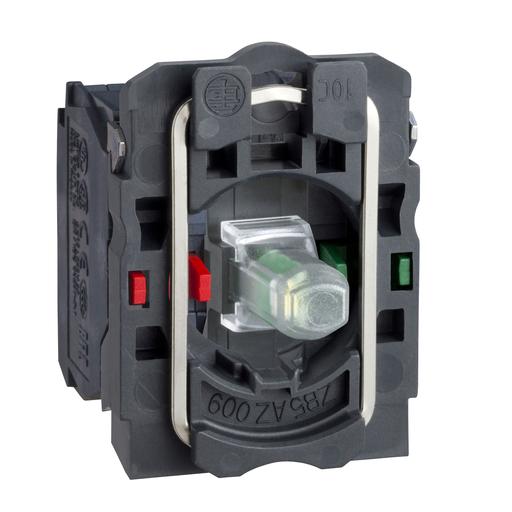 Mayer-Harmony XB5, Light block with body/fixing collar, plastic, green, integral LED, 110...120 V AC, 1 NO + 1 NC-1