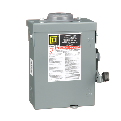 Mayer-Safety switch, general duty, fusible, 30A, 2 poles, 7.5 hp, 120 VAC, NEMA 3R, bolt-on provision, neutral factory installed-1