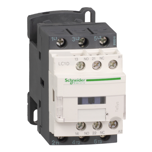 Mayer-IEC contactor, TeSys D, nonreversing, 18A, 10HP at 480VAC, up to 100kA SCCR, 3 phase, 3 NO, 110VAC 50/60Hz coil, open-1