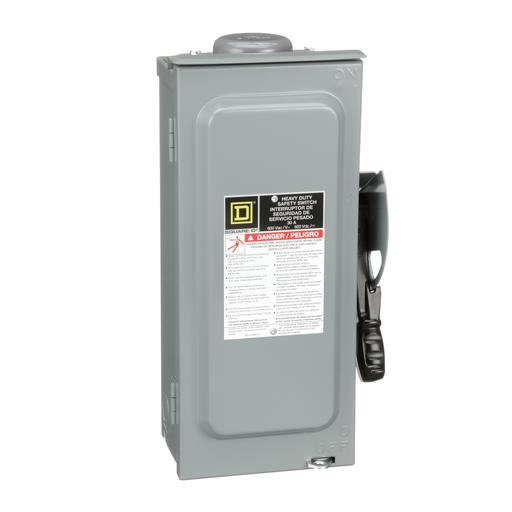 Mayer-Safety switch, heavy duty, fusible, 30A, 3 poles, 20 hp, 20 hp, 600 VAC/DC, NEMA 3R, bolt-on hub, neutral-1