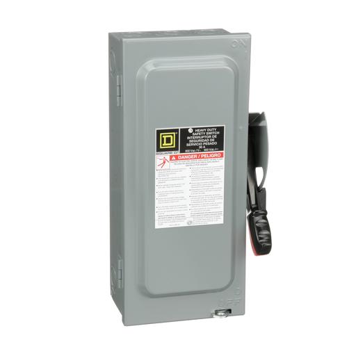 Mayer-Safety switch, heavy duty, fusible, 30A, 3 poles, 20 hp, 20 hp, 600 VAC/DC, NEMA 1-1
