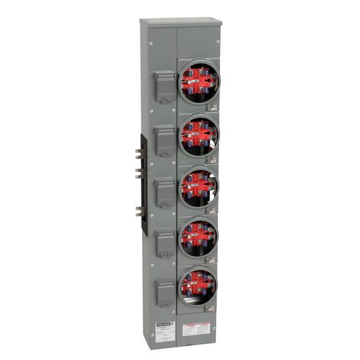 Mayer-Branch unit, EZ Meter-Pak, 125A, 5 sockets, 120/240 VAC, no bypass, ringless, 800A Al busbar-1