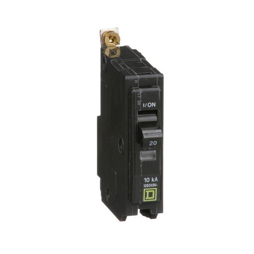 Mayer-Mini circuit breaker, QO, 20A, 1 pole, 120/240 VAC, 10 kA, bolt on mount-1