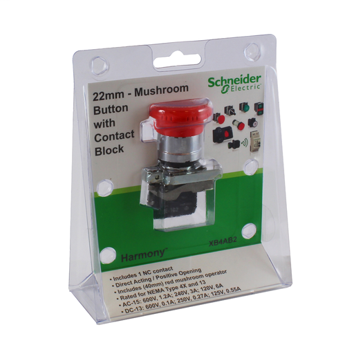 Mayer-22mm push button, Harmony XB4, metal base, turn to release push button, 40mm red mushroom button, 6A at 120VAC, 1NC-1
