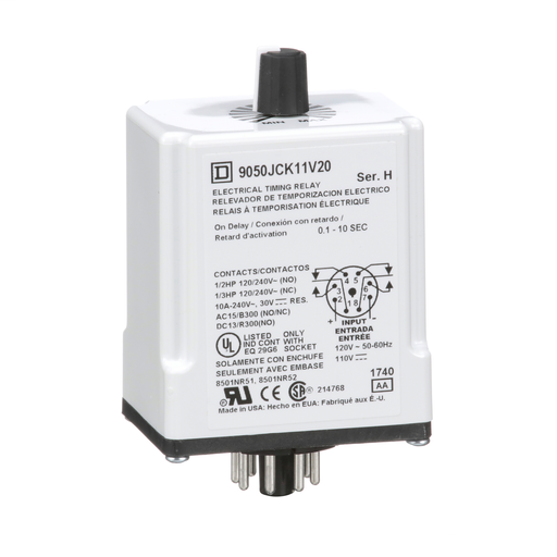 Mayer-Timing Relay, Type JCK, plug In, on delay, adjustable time, 0.1 to 10 seconds, 10A, 240 VAC, 120 VAC/110 VDC-1
