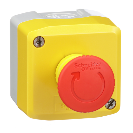 Mayer-Harmony, yellow control station, red mushroom head push button, 40 mm turn to release, 1 NC-1