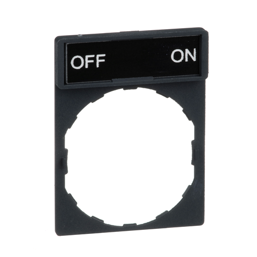 Mayer-Harmony, 22mm Push Button, legend holder 30 x 40 mm, with legend 8 x 27 mm, marked OFF ON-1