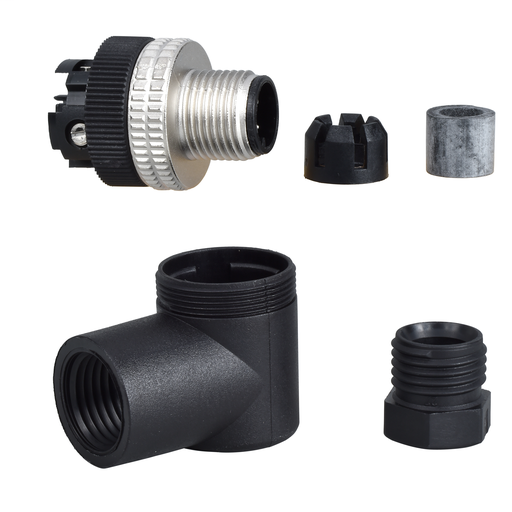 Mayer-Male, M12, 4 pin, elbowed connector, cable gland Pg 7-1