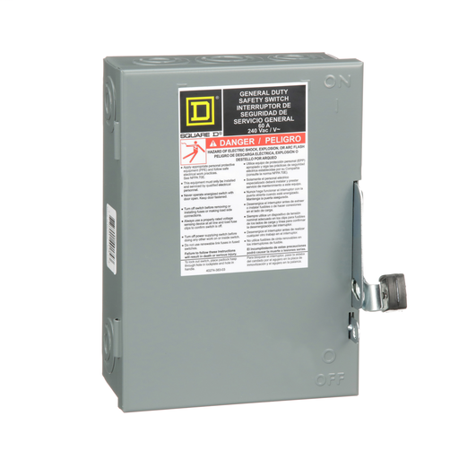 Mayer-Safety switch, general duty, non fusible, 60A, 3 poles, 15 hp, 240 VAC, NEMA 1-1