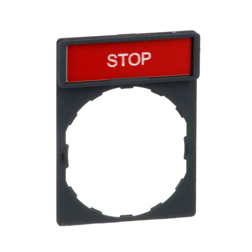 Mayer-Harmony, 22mm Push Button, legend holder 30 x 40 mm, with legend 8 x 27 mm, marked STOP-1