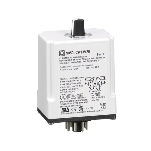 Mayer-Timing Relay, Type JCK, plug In, on delay, adjustable time, 0.6 to 60 seconds, 10A, 240 VAC, 120 VAC/110 VDC-1
