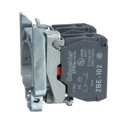 Mayer-Harmony, 22mm Push Button, XB4B operators, contact block, with mounting collar, 2 NC, screw clamp terminal-1