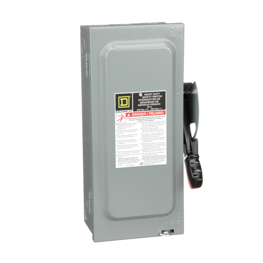 Mayer-Safety switch, heavy duty, fusible, 30A, 3 poles, 7.5 hp, 240 VAC/250 VDC, neutral factory installed, NEMA1-1