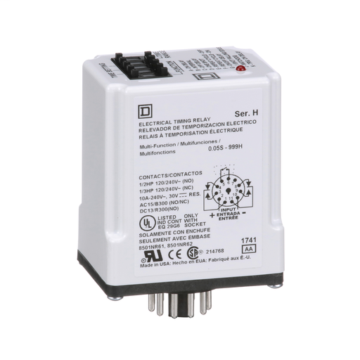 Mayer-Timing Relay, Type JCK, plug In, multifunction, programmable, 0.5 second to 999 hours, 10A, 240 VAC, 24 VAC/DC-1