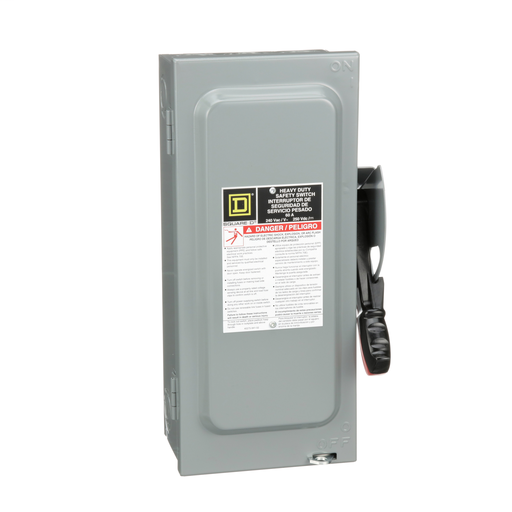 Mayer-Safety switch, heavy duty, fusible, 60A, 3 poles, 15 hp, 240 VAC/250 VDC, neutral factory installed, NEMA1-1