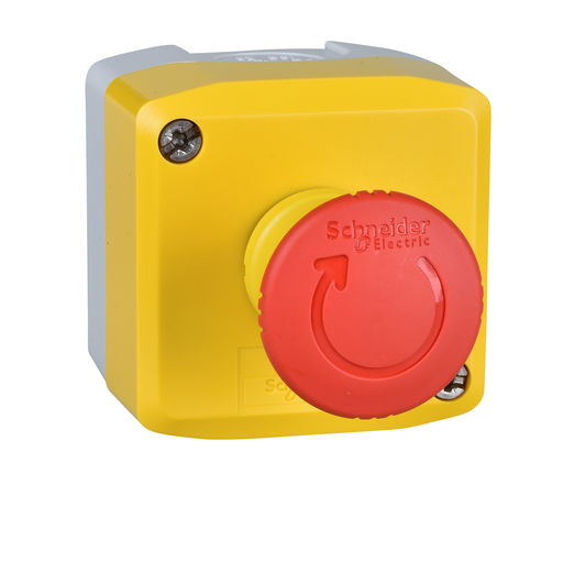 Mayer-22mm push button, Harmony, yellow control station, trigger action emergency stop, 40mm red mushroom, 1 NC, NEMA 13-1